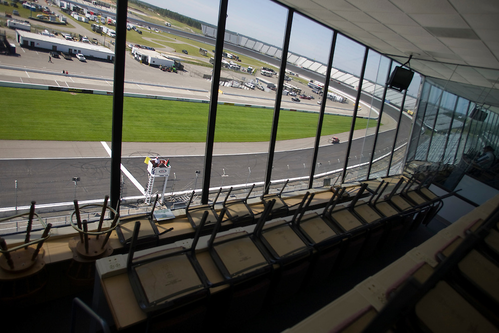 The press room viewing stands at Rockingham Speedway, Friday, April 17, 2009.