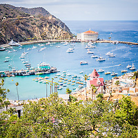 Catalina Island Avalon Bay vertical photo from above in the mountains with the Avalon Casino, Green Pleasure Pier, and city of Avalon. Catalina Island is a popular travel destination off the coast of Southern California in the United States.