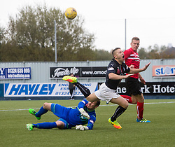 Dunfermline's Sean Murdoch saves from Falkirk's John Baird. Falkirk 2 v 1 Dunfermline, Scottish Championship game played 15/10/2016, at The Falkirk Stadium.