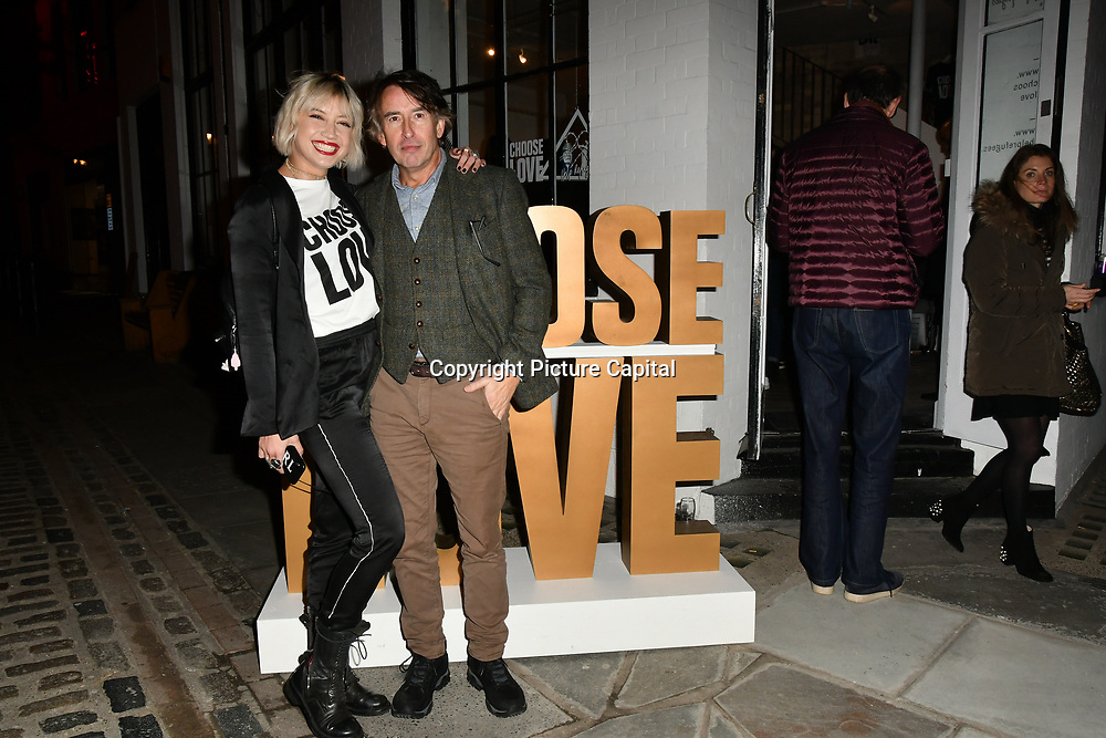 Steve Coogan and Daisy Lowe arrives at Choose Love shop launch at Foubert's Place, Carnaby on 22 November 2018, London, UK.