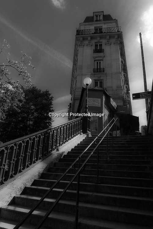 France. Paris. Montmartre. 18th district.  The stairs of Montmarte hill