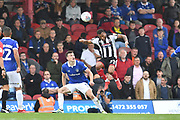 Grimsby Town Forward Wes Thomas (39) and Oldham Athletic defender George Edmundson (4) during the EFL Sky Bet League 2 match between Grimsby Town FC and Oldham Athletic at Blundell Park, Grimsby, United Kingdom on 15 September 2018.