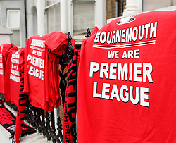 Shirts to celebrate Bournemouth's promotion to the Premier League - Photo mandatory by-line: Robbie Stephenson/JMP - Mobile: 07966 386802 - 02/05/2015 - SPORT - Football - Charlton - The Valley - Charlton v AFC Bournemouth - Sky Bet Championsip
