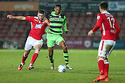 Forest Green Rovers Ethan Pinnock(16) runs forward during the Vanarama National League match between Wrexham FC and Forest Green Rovers at the Racecourse Ground, Wrexham, United Kingdom on 26 November 2016. Photo by Shane Healey.