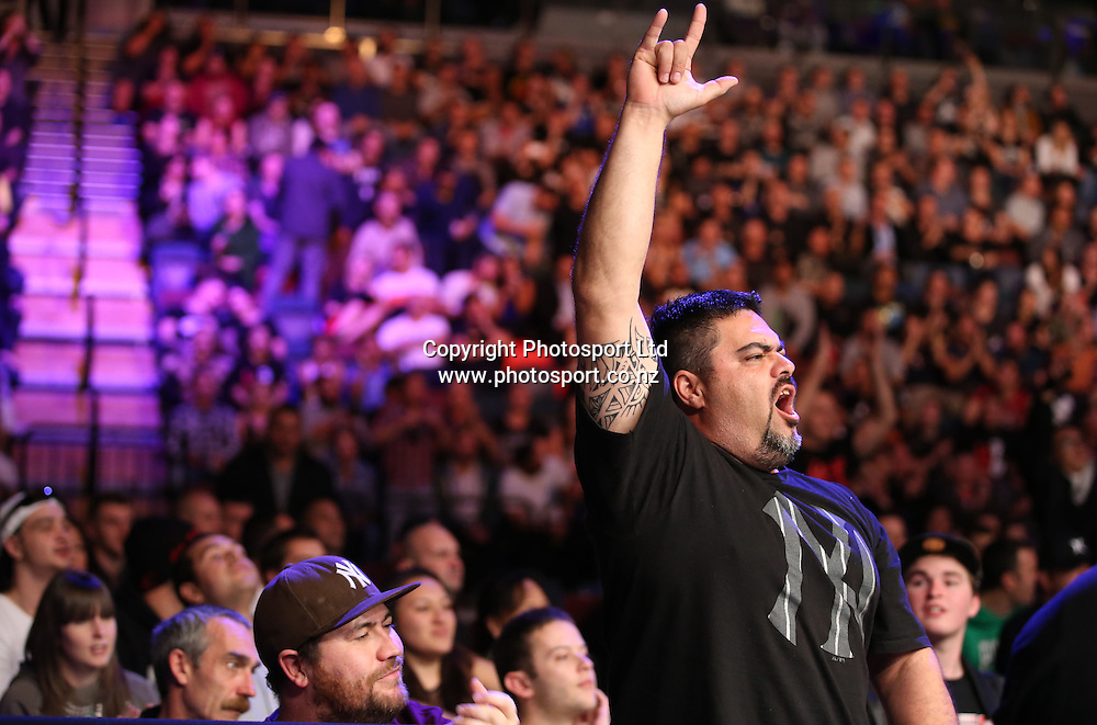 The crowd gets in behind the Kiwi fighters during the UFC Ultimate Fighting Championship fight night held at Vector Arena in Auckland on Saturday 28th of July 2014. <br /> Credit; Peter Meecham/ www.photosport.co.nz
