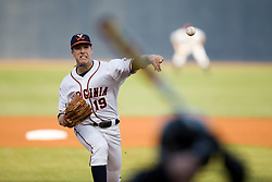 Virginia Cavaliers LHP Pat McAnaney (19) delivers a pitch to a Wake Forest batter.  The #16 ranked Virginia Cavaliers baseball team defeated the Wake Forest Demon Decons 4-2 at the University of Virginia's Davenport Field in Charlottesville, VA on April 18, 2008.