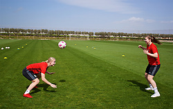 LARNACA, CYPRUS - Thursday, March 1, 2018: Wales' Elise Hughes and Alice Griffiths during a training session in Larnaca on day three of the Cyprus Cup tournament. (Pic by David Rawcliffe/Propaganda)