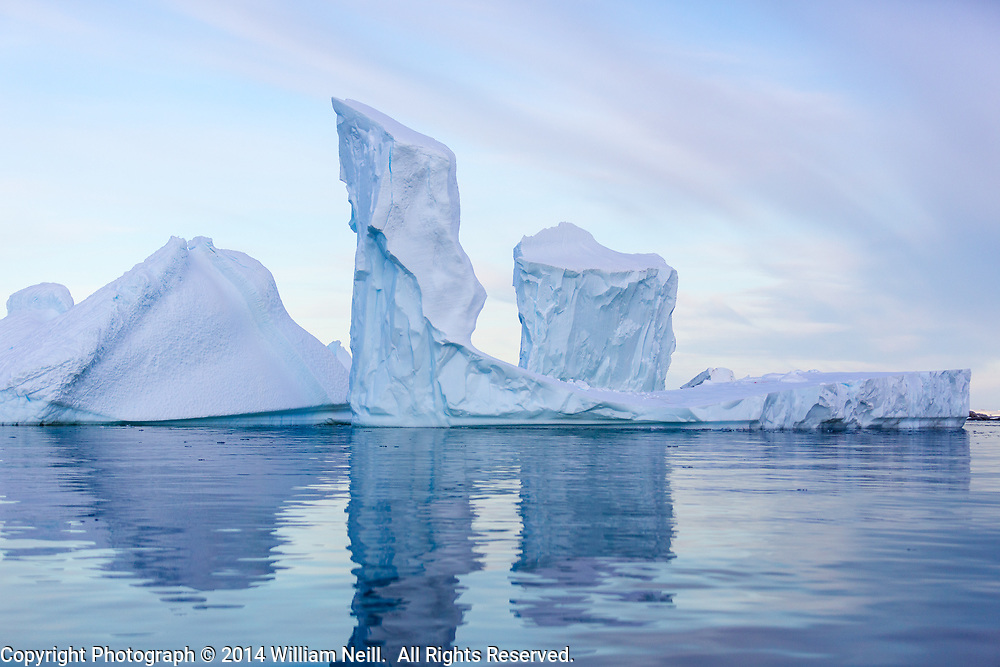 Iceberg Towers at Dawn, Pleneau Bay, Antarctic Peninsula, Antarctica 2014