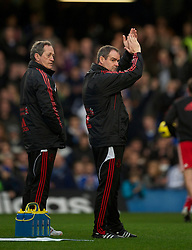 LONDON, ENGLAND - Sunday, February 6, 2011: Liverpool's assistant manager Steve Clarke warms-up before the Premiership match against Chelsea at Stamford Bridge. (Photo by David Rawcliffe/Propaganda)