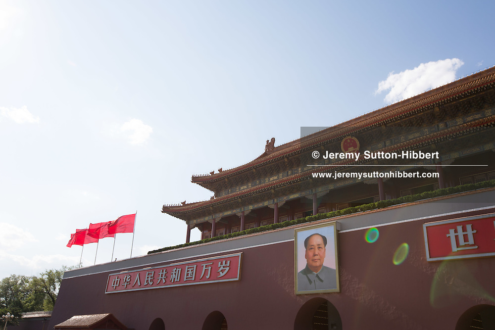 Gate of Heavenly Peace, with painted portrait of Chairman Mao Zedong, at the entrance to the Forbidden City, off of Tiananmen Square, in Beijing, China, Wednesday 30th May 2012.