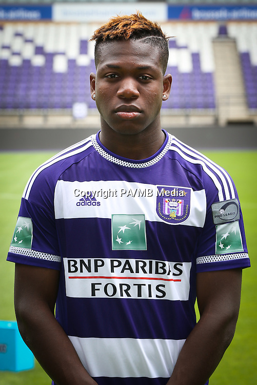 Anderlecht's Aaron Leya Iseka pictured during the 2015-2016 season photo shoot of Belgian first league soccer team RSC Anderlecht, Tuesday 14 July 2015 in Brussels.