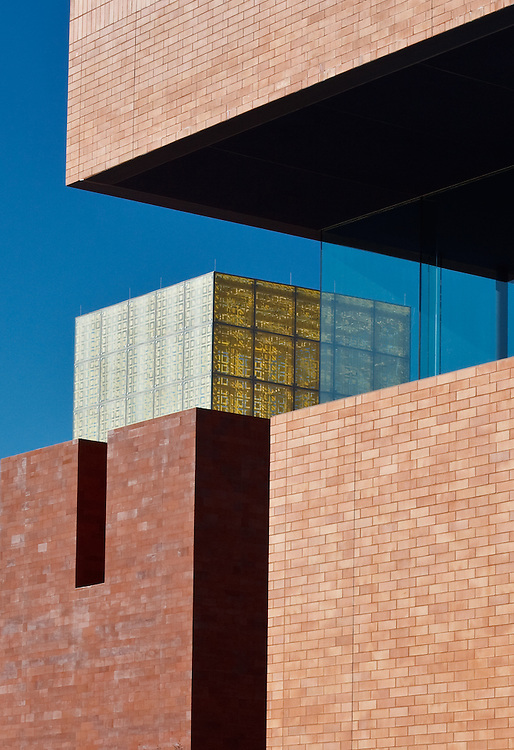 The fritted-glass lantern projects above bold rectilinear facade elements at the FW Science & History Museum.