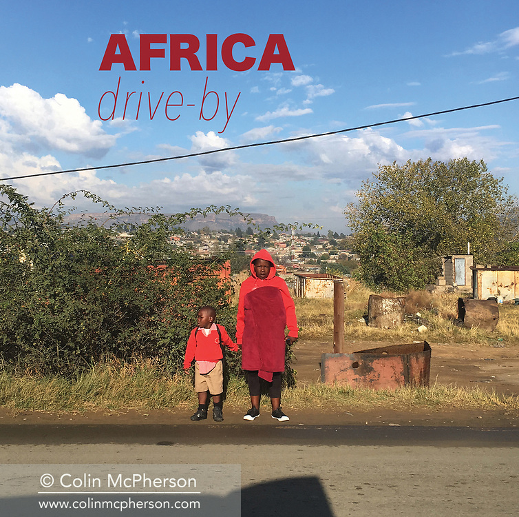 'Africa Drive-by' a photo book published in 2017. <br /> <br /> The images were captured from the back of police motorcades and security vehicles in eight southern African countries in spring and summer, 2017.<br /> <br /> Photo shows: The book's cover.<br /> <br /> It was self-published the same year in an edition of 250.