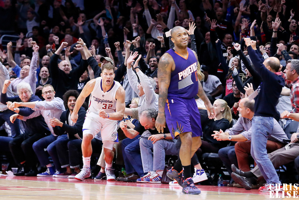 08 December 2014: Los Angeles Clippers forward Blake Griffin (32) celebrates the win during the Los Angeles Clippers 121-120 overtime victory over the Phoenix Suns, at the Staples Center, Los Angeles, California, USA.