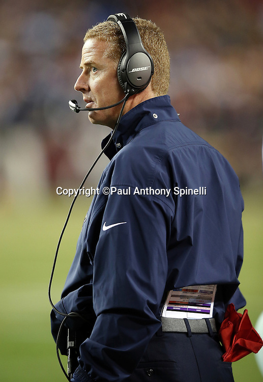Dallas Cowboys head coach Jason Garrett looks on from the sideline during the 2015 week 13 regular season NFL football game against the Washington Redskins on Monday, Dec. 7, 2015 in Landover, Md. The Cowboys won the game 19-16. (©Paul Anthony Spinelli)