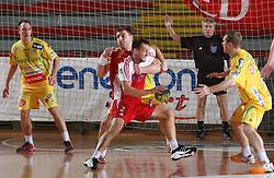 Miladin Kozlina vs Boris Becirovic at 15th round of Slovenian Handball MIK 1st league match between RD Slovan and RK Celje Pivovarna Lasko, on February 6, 2009, in Kodeljevo, Ljubljana, Slovenia. Win of RK Slovan 18:17. (Photo by Vid Ponikvar / Sportida)