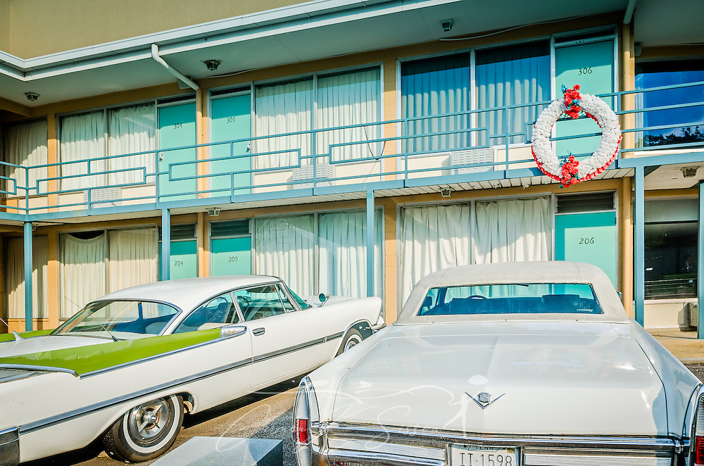 Room 306 at the Lorraine Motel is pictured, Sept. 7, 2015, in Memphis, Tennessee. Civil rights leader Dr. Martin Luther King, Jr., was shot and killed at the motel on April 4, 1968, while standing on the balcony. The motel is now part of the National Civil Rights Museum complex. during the segregation era, the Lorraine Motel was one of the few motels that permitted black clientele. The wreath is a replica of one placed previously and marks the spot where King was standing when he was killed. The cars have no historical significance other than to represent the time period, though King often traveled in a white Cadillac when in Memphis. (Photo by Carmen K. Sisson/Cloudybright)