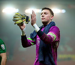 STOKE-ON-TRENT, ENGLAND - Sunday, January 4, 2015: Wrexham's goalkeeper Jonathan Flatt looks dejected after his side's 3-1 defeat by Stoke City during the FA Cup 3rd Round match at the Britannia Stadium. (Pic by David Rawcliffe/Propaganda)