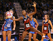 Mwai Kumwenda of the Tactix and Storm Purvis of the Steel compete for the ball during the ANZ Championship Netball game between the Tactix v Steel at Horncastle Arena in Christchurch. 6th April 2015 Photo: Joseph Johnson/www.photosport.co.nz