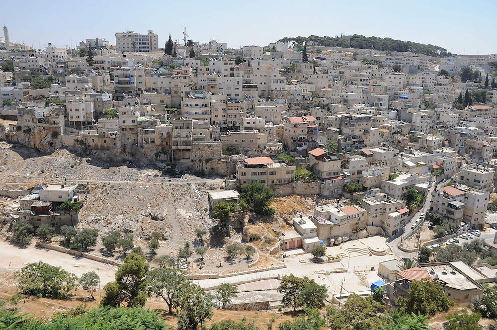 A view of the City of David and the prodominantly Arab neighbourhood of Silwan.  The archeological site City of David was found in this area and more and more houses are threatened with demolition orders. This tactic is used to expand the touristic site by a settler movement that owns and exploits the archeological site and to make the city of Jerusalem more Jewish..Silwan, Jersusalem, Israel, 2009