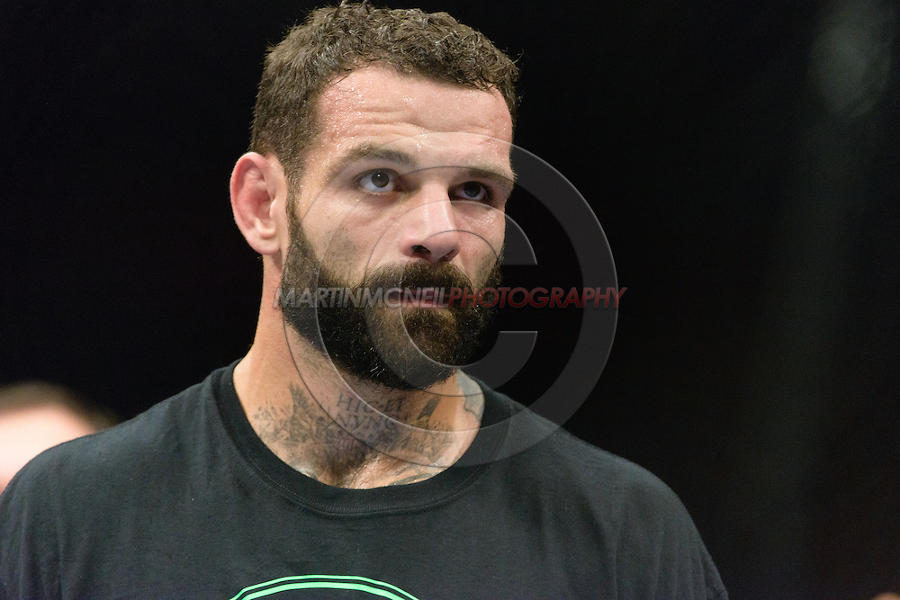 """MANCHESTER, ENGLAND, OCTOBER 26, 2013: Alessio Sakara is pictured after losing his fight during """"UFC Fight Night 30: Machida vs. Munoz"""" inside Phones4U Arena in Manchester, England (© Martin McNeil)"""