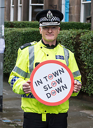 Pictured: Superintendent Fraser Candlish, from Police Scotland, <br /> The &quot;In Town, Slow Down&quot;  road safety campaign was launched today in Edinburgh to encourage drivers to watch their speed in built-up areas, amid figures showing someone is stopped for speeding in Scotland every nine minutes. Superintendent Fraser Candlish from Police Scotland, and John Alexander from Scottish Ambulance Service were on hand to help with the launch<br /> Ger Harley | EEm 7 February 2017