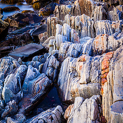 Rocks on the shoreline in Rye, New Hampshire.