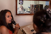 Paralegal Romina Kajtazova is doing a interview for the local radio with NGO Kham client Jondza Ibraimova about Roma related health issues in the city of Delcevo, Macedonia.