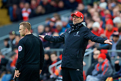 LIVERPOOL, ENGLAND - Saturday, January 28, 2017: Liverpool's manager Jürgen Klopp complains to the assistant referee during the FA Cup 4th Round match against Wolverhampton Wanderers at Anfield. (Pic by David Rawcliffe/Propaganda)