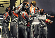 Sep 25, 2011; Phoenix, AZ, USA; Phoenix Mercury guard Temeka Johnson (left) and her teammates cheer prior to the game between the Minnesota Lynx at the US Airways Center. Mandatory Credit: Jennifer Stewart-US PRESSWIRE
