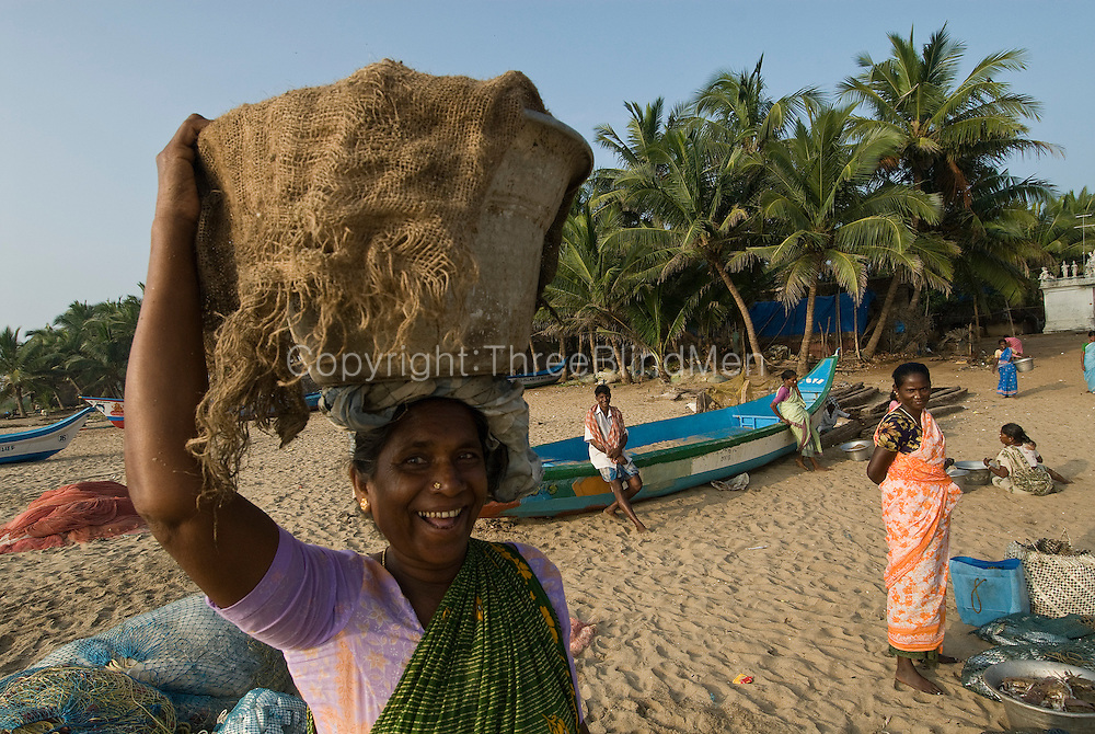Fishermen bring their catch onto the beach for sale by auction by the women. Moorthy Pudukuppam, Pondicherry.