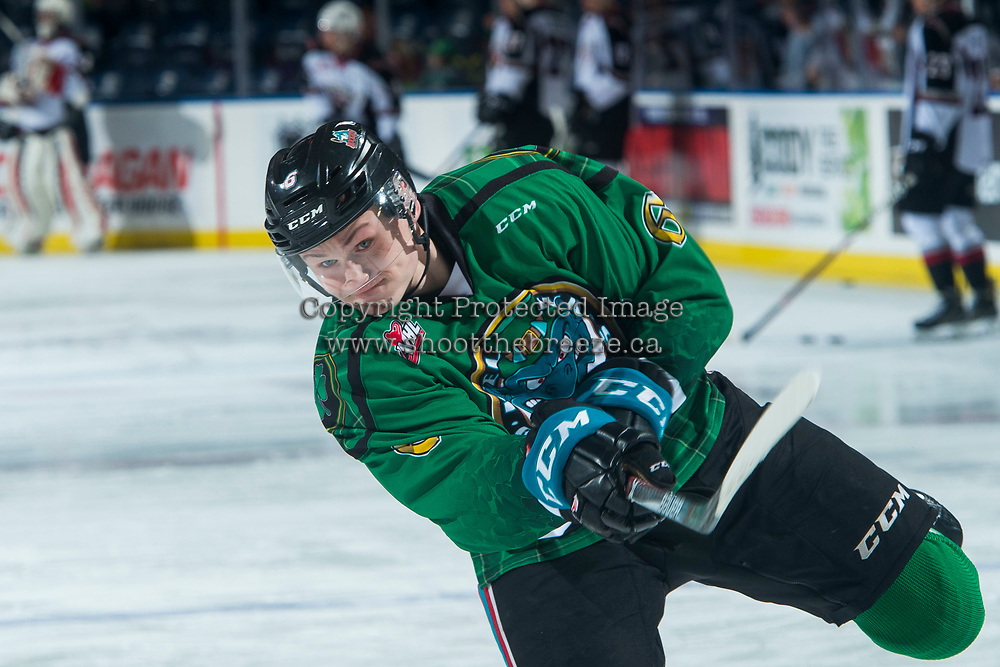 KELOWNA, CANADA - MARCH 18:  Kaedan Korczak #6 of the Kelowna Rockets warms up against the Vancouver Giants on March 1, 2018 at Prospera Place in Kelowna, British Columbia, Canada.  (Photo by Marissa Baecker/Shoot the Breeze)  *** Local Caption ***