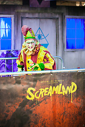 "@Licensed to London News Pictures 14/10/16. Margate, Kent. Professional actors portray numerous scare characters at Screamland in Margate today. For the second year in a row Dreamland Margate will be transformed into the award winning ""Screamland"" the regions largest scare festival with fully immersive scare experiences throughout the park. Photo credit: Manu Palomeque/LNP"