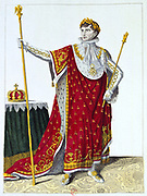 Coronation of Napoleon I, 2 December 1804.  Napoleon in his coronation robes.  Hand-coloured engraving.