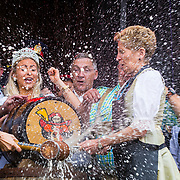 Kitchener, Ontario Canada.  06 October 2017. Official Opening of the 49th annual Kitchener Waterloo Oktoberfest , North America's largest Bavarian festival. Tapping the first beer barrel takes place at Kitchener City Hall. Kathleen Wynne Premier of Ontario Tapping the First beer barrel. Credit Performance Image/Alamy Live News.