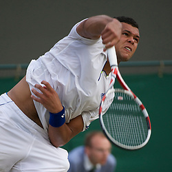 LONDON, ENGLAND - Monday, June 27, 2011: Jo-Wilfried Tsonga (FRA) in action during the Gentlemen's Singles 4th Round match on day seven of the Wimbledon Lawn Tennis Championships at the All England Lawn Tennis and Croquet Club. (Pic by David Rawcliffe/Propaganda)