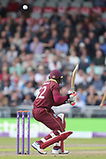 Bouncer for Rovman Powell during the One Day International match between England and West Indies at Old Trafford, Manchester, England on 19 September 2017. Photo by George Franks.