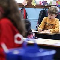 Adam Robison | BUY AT PHOTOS.DJOURNAL.COM<br /> Cayden Smith, a third grader at Saltillo Elementary School, works on his Winter Rebus Story in Ms. Mary Pat Hancocks class Wednesday morning in Saltillo.