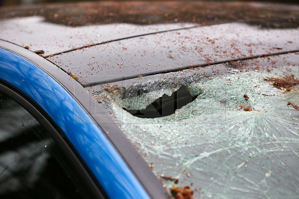 © Licensed to London News Pictures. 12/03/2019. London, UK. The damaged front windscreen of Mercedes car after a tree fell on the car this morning on Green Lanes in Haringey, North London due to strong winds. The unhurt driver left the car and went away with the keys. Met Office is warning to prepare for rain and 80mph gales as Storm Gareth hits later today bringing the risk of heavy flooding. Photo credit: Dinendra Haria/LNP