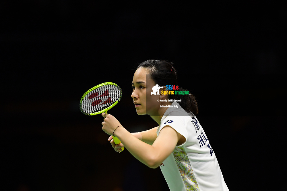 BANGKOK, THAILAND - MAY 25: Nitchaon Jindapol of Thailand in action on Court 1 during her Semi-Finals match against Gao Fangjie of China at the BWF Total Thomas and Uber Cup Finals 2018, Impact Arena , Bangkok, Thailand on May 25, 2018.<br /> .<br /> .<br /> .<br /> Photo by: Naratip Golf Srisupab/SEALs Sports Images<br /> <br /> .<br /> All photo must include a credit line adjacent to the content: Naratip Golf Srisupab/SEALs Sports Images