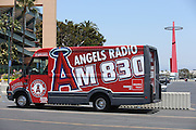 ANAHEIM, CA - JUNE 5:  A radio broadcast truck sits outside Angel Stadium with the Big A in the background before the Los Angeles Angels of Anaheim game against the Chicago Cubs on Wednesday, June 5, 2013 at Angel Stadium in Anaheim, California. The Cubs won the game 8-6 in ten innings. (Photo by Paul Spinelli/MLB Photos via Getty Images)