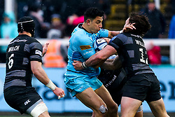 Bryce Heem of Worcester Warriors takes on Johnny Williams of Newcastle Falcons - Mandatory by-line: Robbie Stephenson/JMP - 03/03/2019 - RUGBY - Kingston Park - Newcastle upon Tyne, England - Newcastle Falcons v Worcester Warriors - Gallagher Premiership Rugby