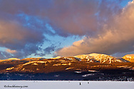 Sunset clouds over Big Mountain from Whitefish Lake State Park in Whitefish, Montana, USA
