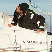 banque image en semi-rigide à La Rochelle du class 40 de Robin MARAIS en vue de la route du rhum 2018