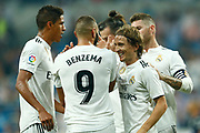 Real Madrid's French forward Karim Benzema celebrates after scoring with Real Madrid's Croatian midfielder Luka Modric during the Spanish championship Liga football match between Real Madrid CF and Leganes on September 1, 2018 at Santiago Bernabeu stadium in Madrid, Spain - Photo Benjamin Cremel / ProSportsImages / DPPI