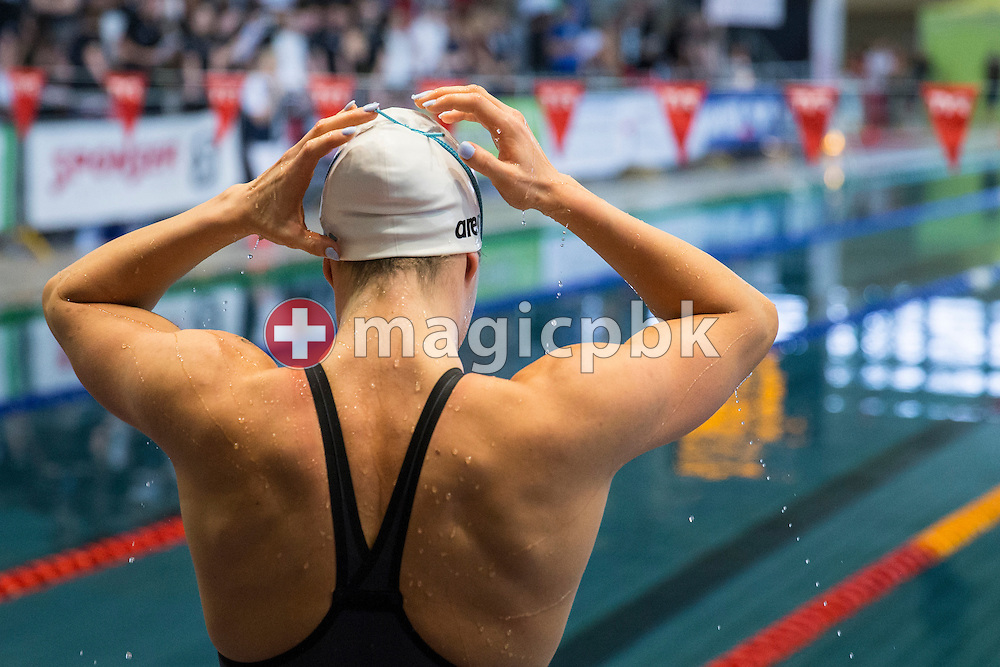Svenja STOFFEL of Switzerland prepares herself before competing in the women's 100m Butterfly Final during the Swiss Swimming Championships at the Hallenbad Oerlikon in Zuerich, Switzerland, Sunday, March 13, 2016. (Photo by Patrick B. Kraemer / MAGICPBK)