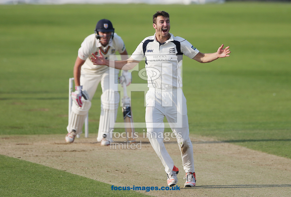 Toby Roland-Jones (foreground) of Middlesex appeals and gets the wicket of Gordon Muchall (background) of Durham during the LV County Championship Div One match at Emirates Durham ICG, Chester-le-Street<br /> Picture by Simon Moore/Focus Images Ltd 07807 671782<br /> 23/08/2015