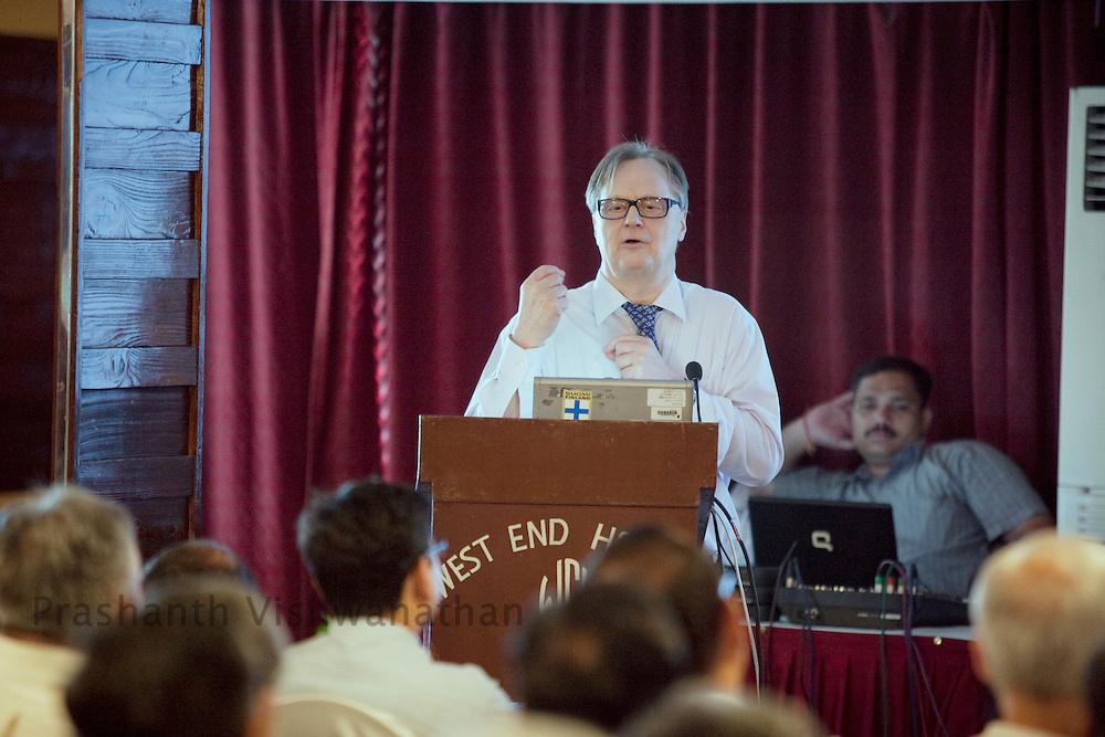 Professor, Juha Hernesniemi, gives a speech about his experience in the neuro surgical field to Indian neurosurgeons at Bombay Hospital in Mumbai, India, on Saturday, April 16, 2011. Photographer: Prashanth Vishwanathan/HELSINGIN SANOMAT