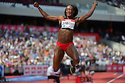 Fungi Jimoh (USA) in long jump during the Muller Anniversary Games at the Stadium, Queen Elizabeth Olympic Park, London, United Kingdom on 23rd July 2016. Photo by Jon Bromley.