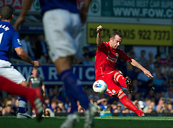 LIVERPOOL, ENGLAND - Saturday, October 1, 2011: Liverpool's Charlie Adam in action against Everton during the Premiership match at Goodison Park. (Pic by David Rawcliffe/Propaganda)